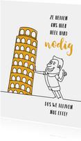 Vakantie cartoon met toren van Pisa