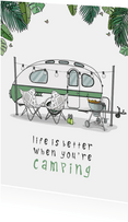Vakantiekaart Caravan retro groen