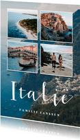 Vakantiekaart fotocollage 4 foto's met aanpasbaar land