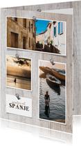 Vakantiekaart hout met foto's en spijkers