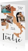 Vakantiekaart Italië fotocollage goud hartjes