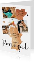 Vakantiekaart Portugal roségoud fotocollage hartjes