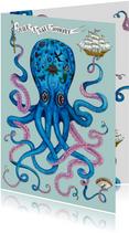 Vakantiekaarten - Vakantiekaart Tattood Octopus