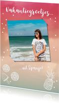 Vakantiekaart trendy met foto en zomerse tekeningen