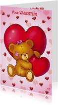 valentijn 4 beertje met 2 grote harten
