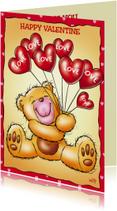 valentijn 7 beertje met hartjesballonnen