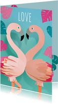 Valentijn flamingo's love