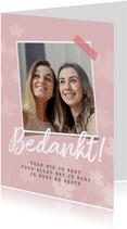 Valentijnskaart bedankt bloemen foto vriendschap