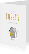 Valentijnskaart cheesy met muisje en kaas