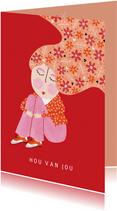 valentijnskaart dame bloemen in het haar rood