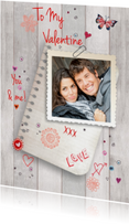 Valentijnskaart eigen foto Liefde Hout