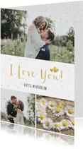 Valentijnskaart fotocollage met 3 foto's en confetti