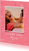 Valentijnskaart grote foto met hartjes achtergrond