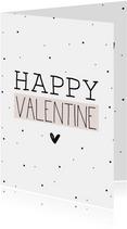 Valentijnskaart Happy Valentine zacht roze