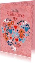 Valentijnskaart hartjes en bloemen