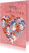 Valentijnskaart Hartjes en Vrouwen hoofdjes