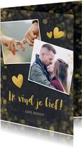 Valentijnskaart krijtbord met gouden hartjes en confetti