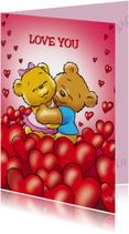 Valentijnskaart liefde beren tussen harten