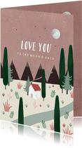Valentijnskaart love you to the moon & back illustratie