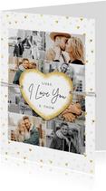 Valentijnskaart met fotocollage en gouden hartjes label