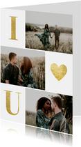Valentijnskaart met gouden typografie en foto's