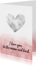 Valentijnskaart met hartvormige maan en waterverf