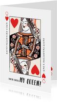 Valentijnskaart met illustratie van kleurrijke hartenvrouw