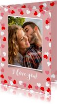 Valentijnskaart met kader van hartjes en foto