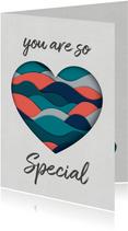 Valentijnskaarten - Valentijnskaart met paper cutout hart  in petrol en coral