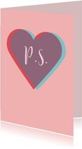 Valentijnskaart met twee harten