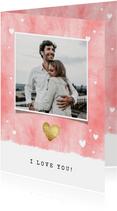 Valentijnskaart met waterverf, hartjes en foto