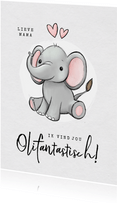 Valentijnskaart olifant fantastisch humor kind hartjes