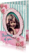 Valentijnskaart romantisch meisje rozen vintage