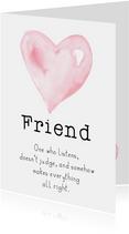Valentijnskaart | Roze waterverf hart