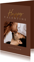 Valentijnskaart stijlvol met foto en gouden tekst