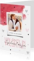 Valentijnskaart stijlvol typografisch waterverf met foto
