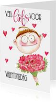 Valentijnskaarten - Valentijnskaarten jongen met bloemen