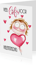 Valentijnskaarten meisje met ballon