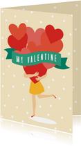 Valentijnskaartje met hartjes en stipjes