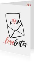 Valentinskarte Liebesbrief mit Initialen