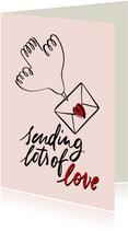 Valentinskarte Taube mit Liebesbrief