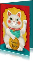 Veel geluk gewenst kaart met illustratie van een lucky cat