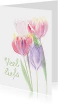 Veel liefs zomaar kaart met tulpen