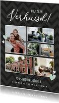 Verhuisbericht fotocollage met 6 foto's en nieuw adres