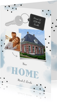 Verhuiskaart 2 foto's sleutel met label new home