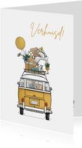 Verhuiskaart achterkant busje geel