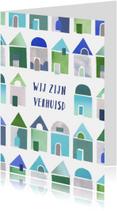 Verhuiskaart collage blauwe huisjes