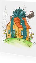 Verhuiskaart feestelijk huis met lint