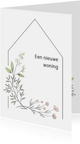 Verhuiskaart flower, aanpasbare tekst