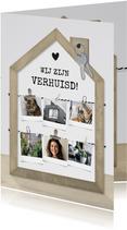 Verhuiskaart fotolijst houten huisje met fotocollage
